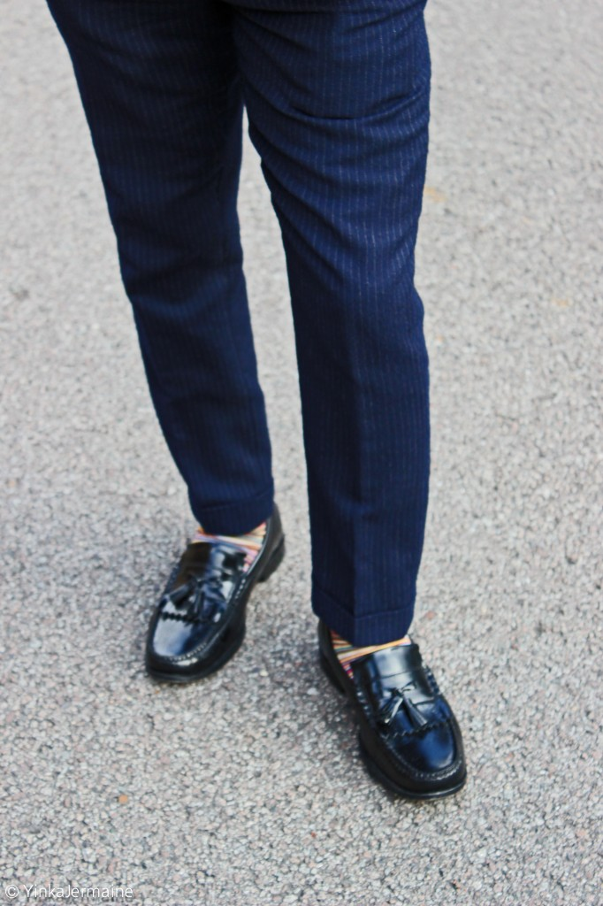 Statement socks and tassel loafers with a suit