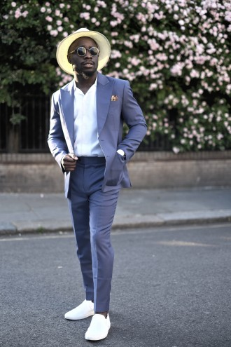 gentle blue: relaxing your two piece suit